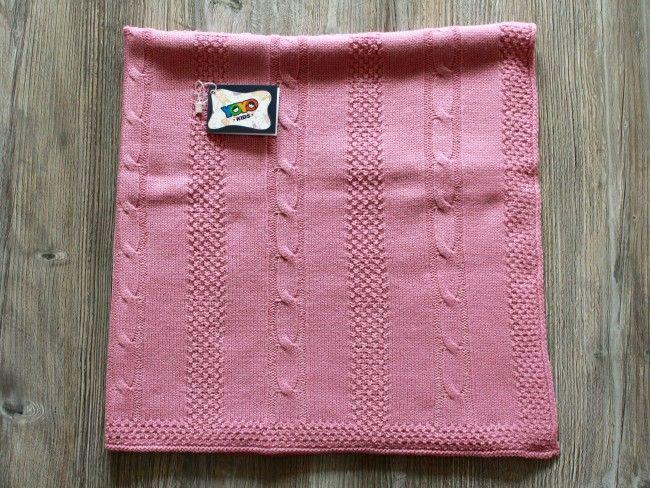 Топло антиалергично плетено бебешко одеяло Yo Yo Kids 90 х 90 см- РОЗОВО, 754