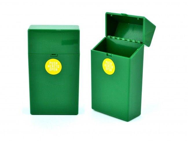 Пластмасов калъф за кутия за цигари 100мм. с автоматично пружинно отваряне ЗЕЛЕНО 089