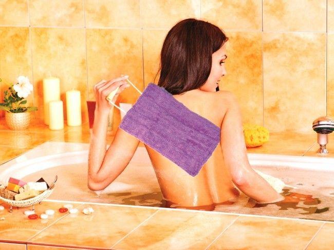 2 броя двулицеви кърпи - кесе с дръжки за гръб за баня - Loofa Cloth