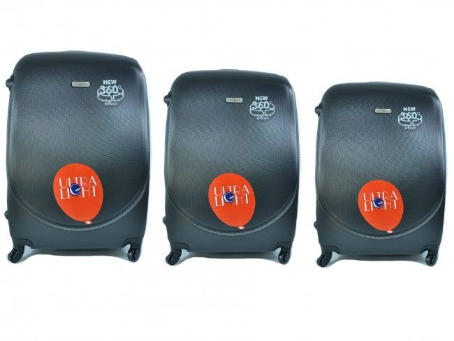 Луксозен комплект от 3бр.пътнически куфари 1217 BLACK от най-висок клас