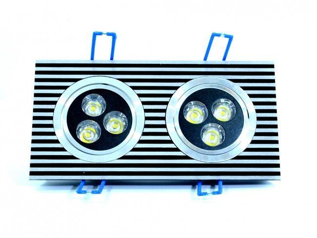 LED осветително тяло за вграждане с две регулируеми LED лунички 2x3 W, 6000К бяла светлина