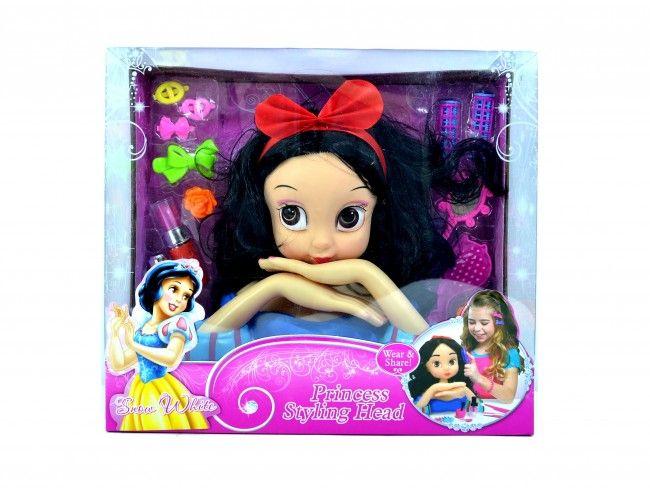 Голяма кукла принцеса- брюнетка за прически и стайлинг Princess Styling Head, 3  години