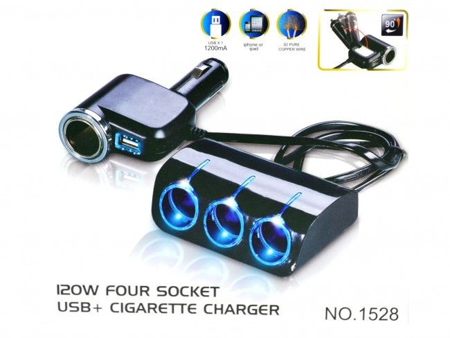 Истински мощен 120W разклонител за гнездо на автозапалка X4 и USB слот - OLESSON 1528