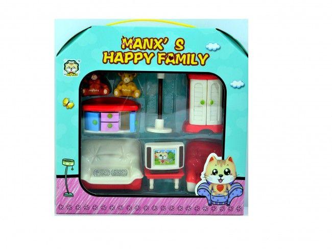 Домашен комплект мечета с мебели - Manx's happy family, 3  години