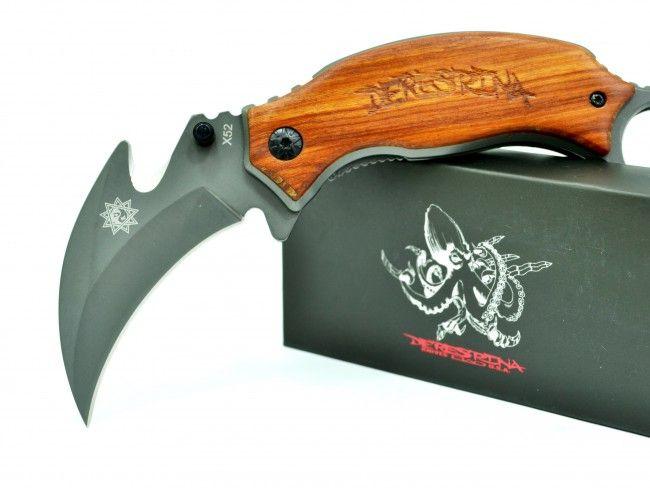 Бутиков сгъваем нож DERESTRINA X52 с дървена дръжка - karambit