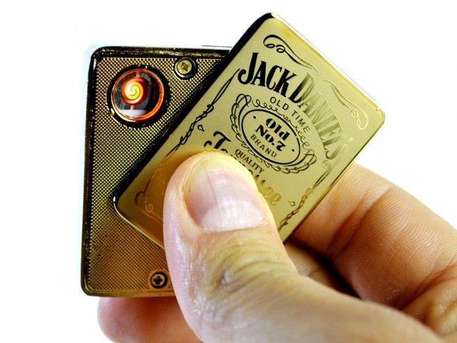 Метална ел. запалка JACK DANIEL's с вградена презареждаема батерия, в подаръчна кутия
