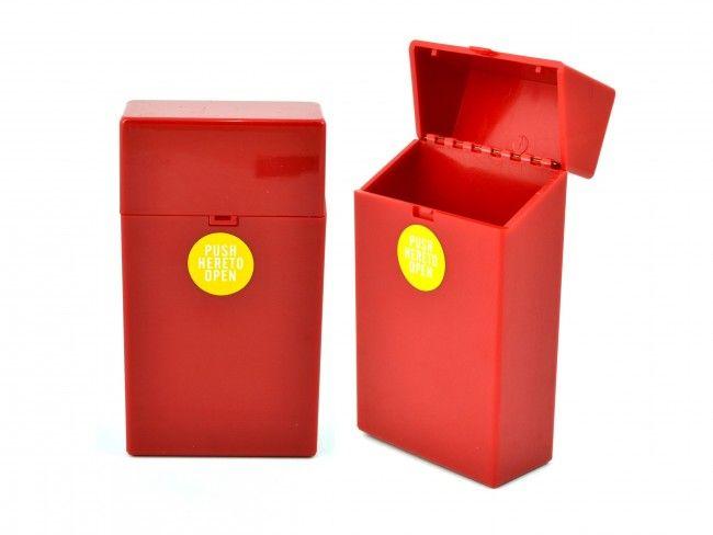 Пластмасов калъф за кутия за цигари 100мм. с автоматично пружинно отваряне ЧЕРВЕНО 089
