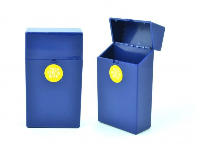 Пластмасов калъф за кутия за цигари 100мм. с автоматично пружинно отваряне синьо 089
