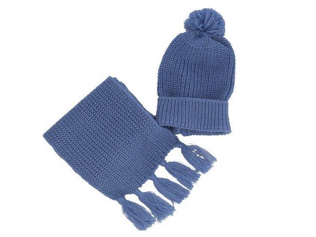 Плетени топли и меки бебешки комплект шал и шапка класическа плетка - в различни цветове