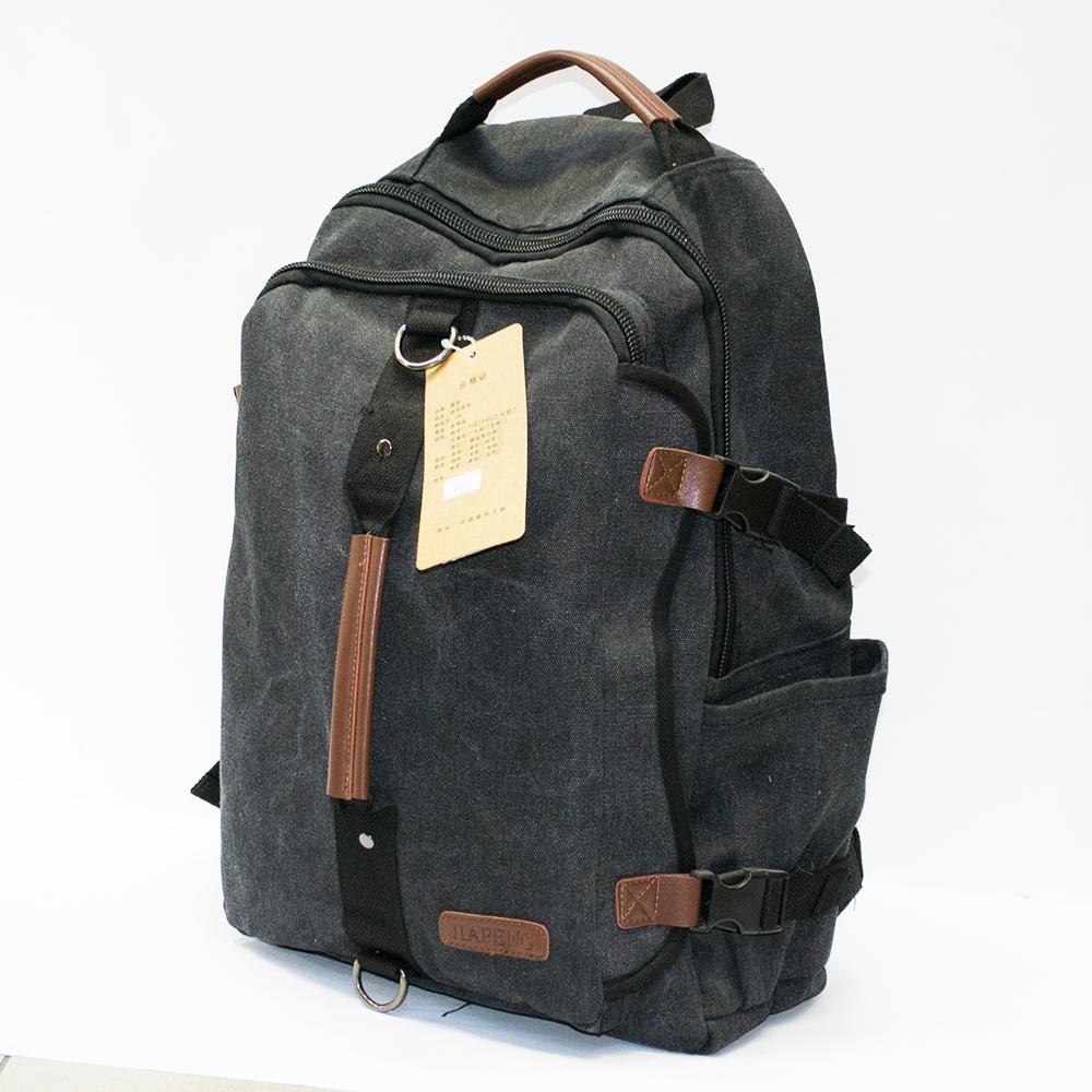 Брезентова супер раница- чанта GA 6802 GREY с кожени елементи