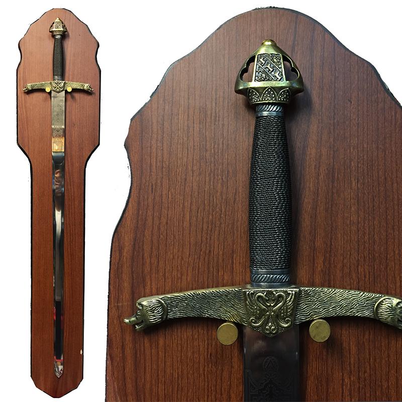 ПРЕМИУМ клас кръстоносен меч  WOLF & PHOENIX 8014 с поставка за стена
