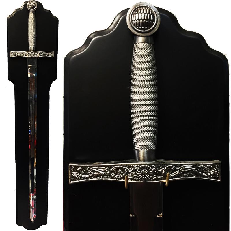ПРЕМИУМ клас кръстоносен меч SILVER SUN & DRAGONS 5521 с поставка за стена