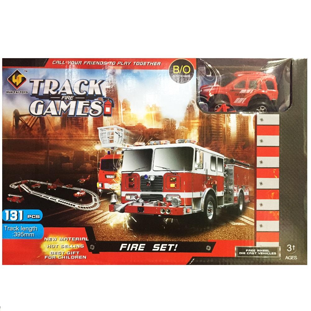 Писта с електрическа пожарна кола FIRE TRACKS GAMES, 3+