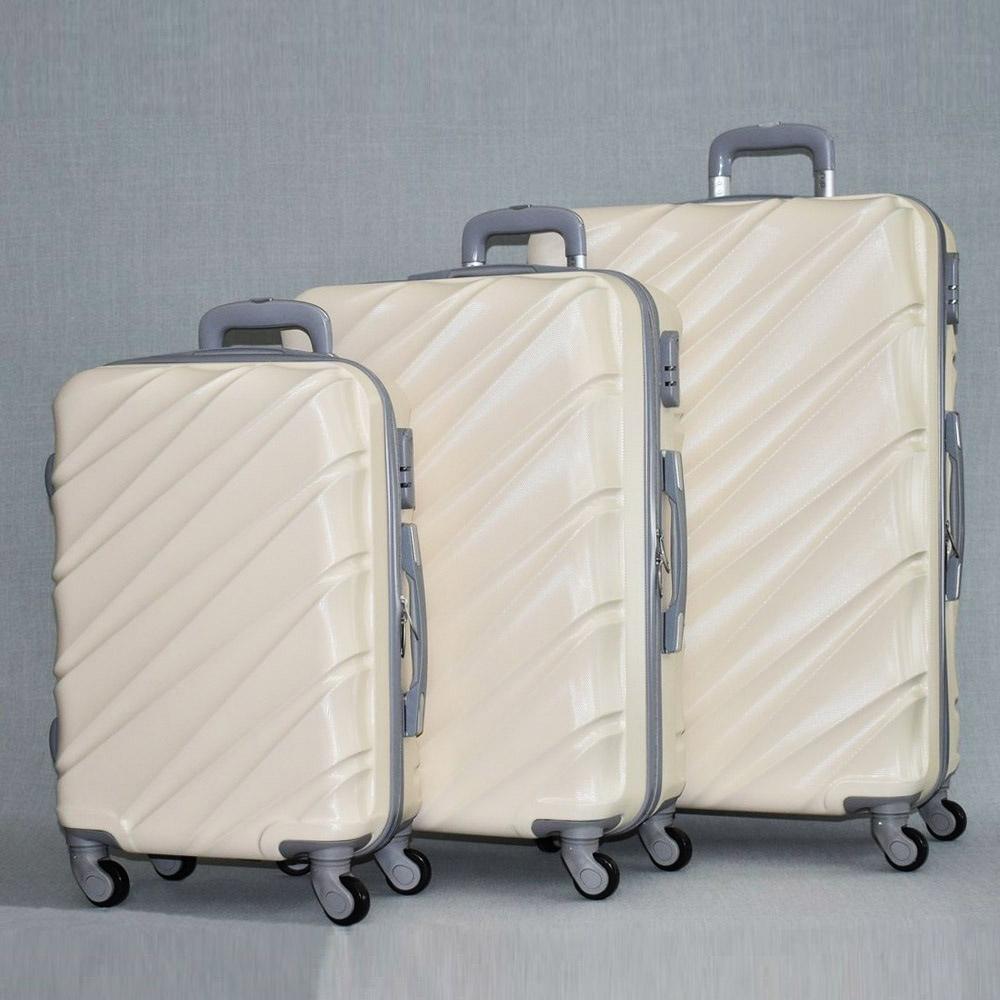 BF SALE: комплект 3 броя ABS куфари ART GALERY VAN GOGH 8073,  скрит механизъм, WHITE