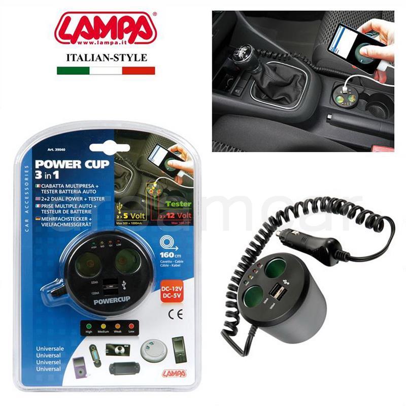 POWERCUP LAPMA ITA - 3в1- мощно зарядно USB, автозапалка и тестер за акумулатора