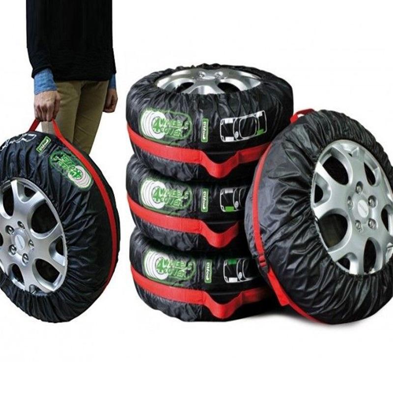 4 броя здрави калъфи за съхранение на резервни гуми - чисто, подредено и удобно за пренася