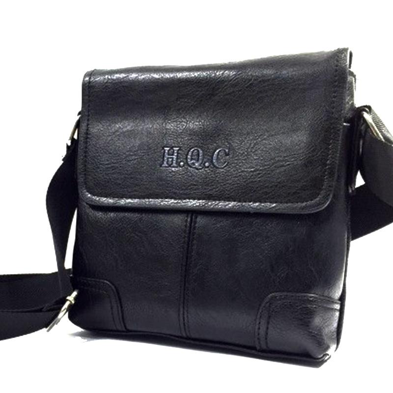 Мъжка кожена чанта за през рамо H.Q.C 31461 BLACK