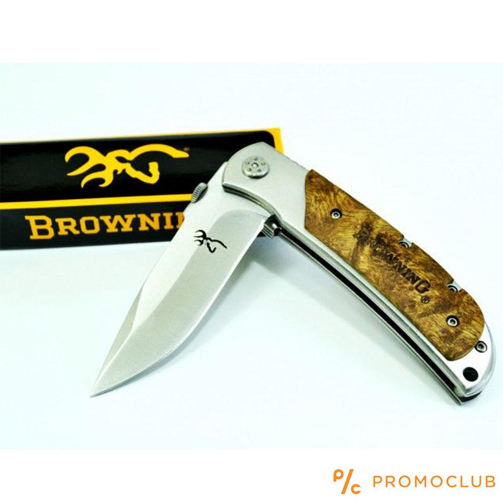 Бутиков сгъваем нож BROWNING DEER HEAD 338 SILVER с дървена дръжка и подаръчна кутия
