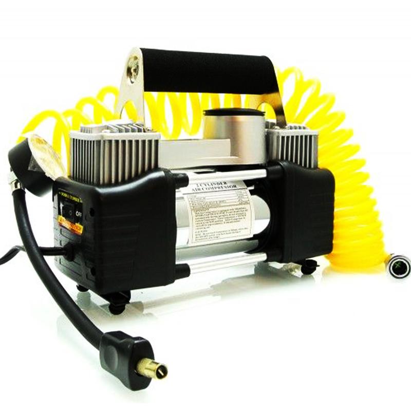 Мощен преносим двуцилиндров автокомпресор за помпане на гуми