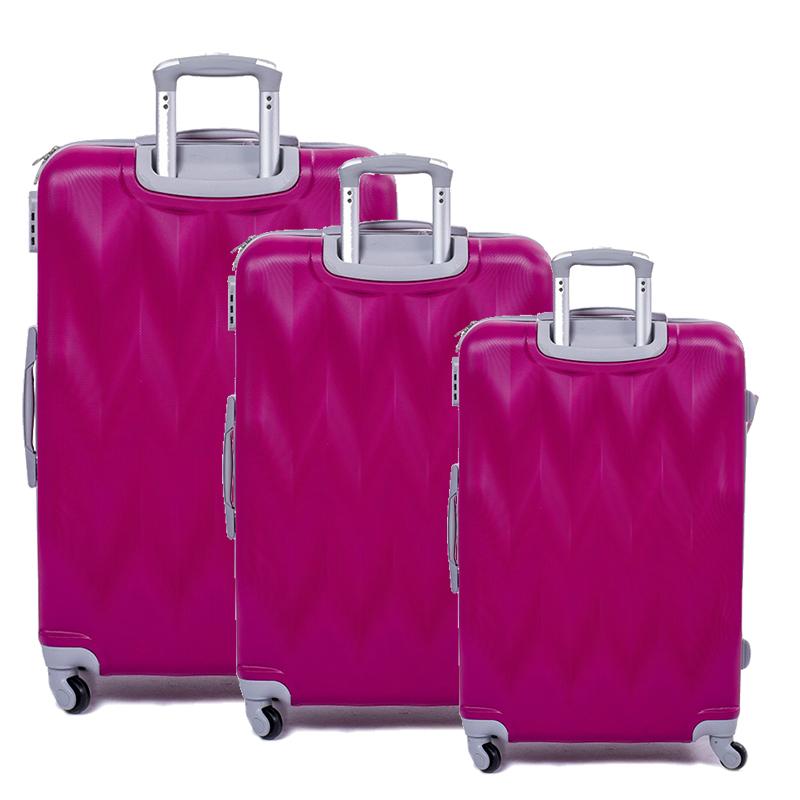 РАЗПРОДАЖБА: комплект 3 броя ABS твърди, леки и компактни спинър-куфари 1255 Фукси ROSE