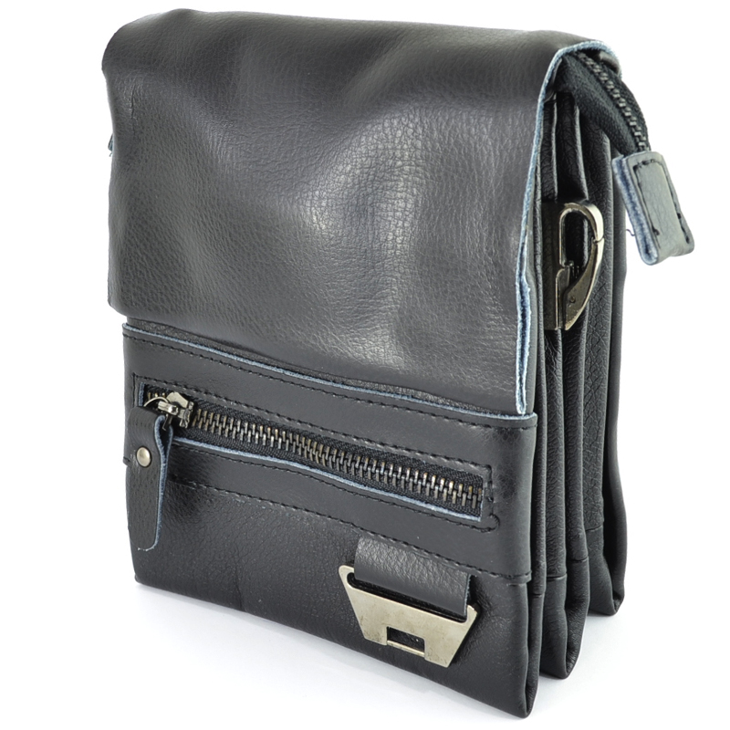 Мъжка чанта за през рамо с капак от естествена кожа VICTORY  62369