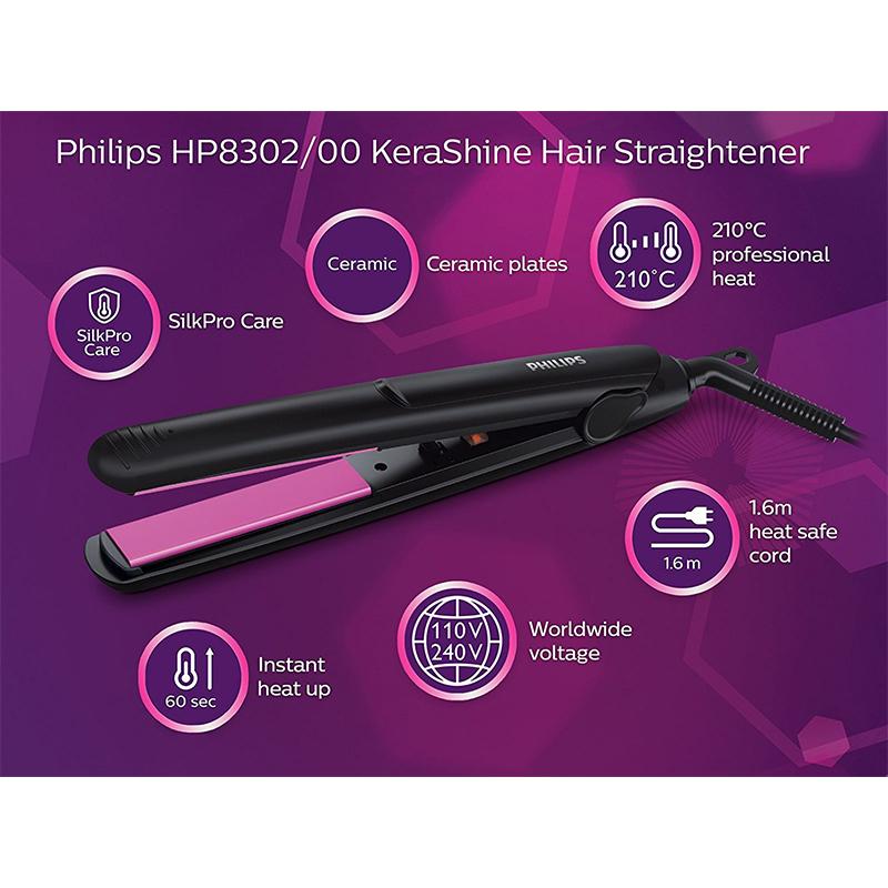 Преса за коса Philips HP8302/00, Керамично покритие, Висока температура 210°C