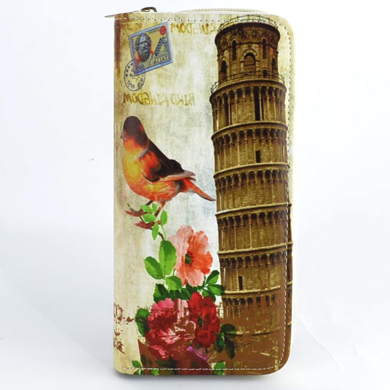Дамско портмоне от еко кожа, щампа Италия , 1 цип
