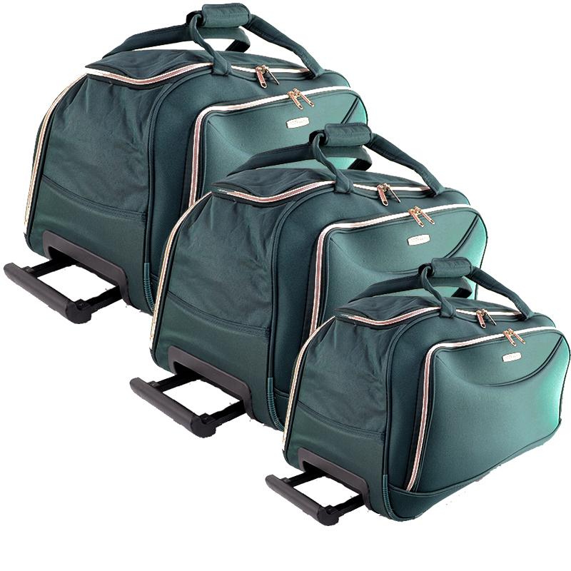 Комплект 3 пътни сакове FERRAZZI  GREEN с колелца и дръжка за теглене 1188