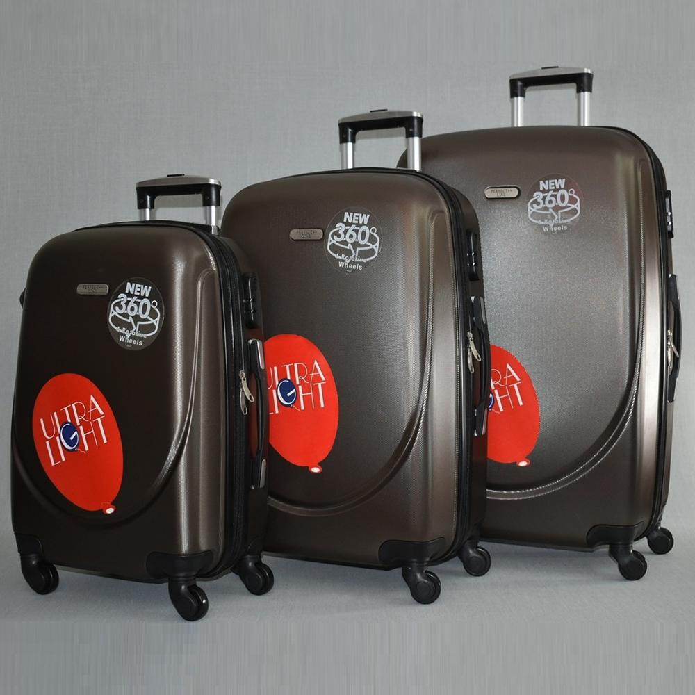 3 луксозни пътнически куфари 1217 BROWN от най-висок клас, с разширение