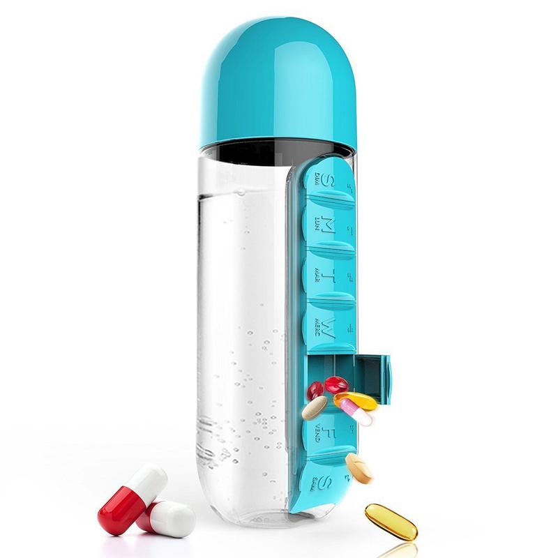 Бутилка за вода с органайзер за витамини и хапчета - изумително удобство