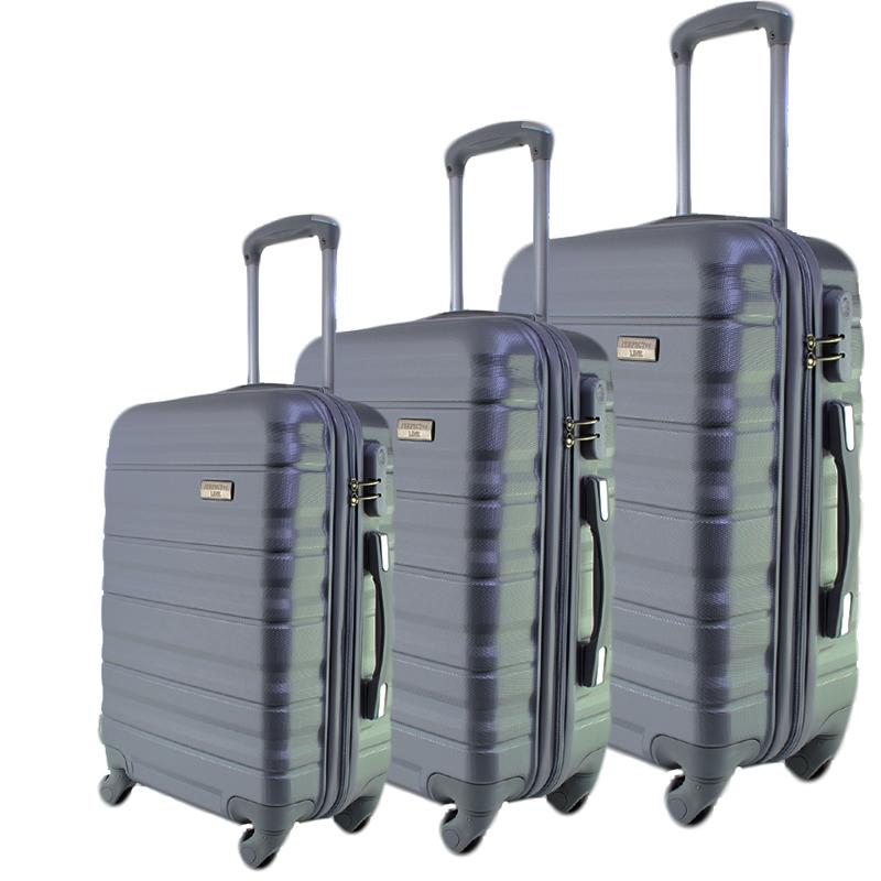 Комплект 3 броя ABS твърди и леки спинър-куфари PERFECT++ LINE 1253 SILVER
