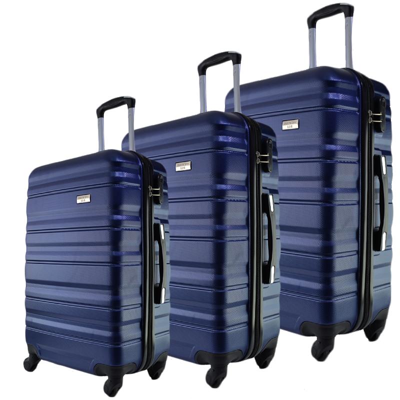 Комплект 3 броя ABS твърди и леки спинър-куфари PERFECT++ LINE 1253 DARK BLUE