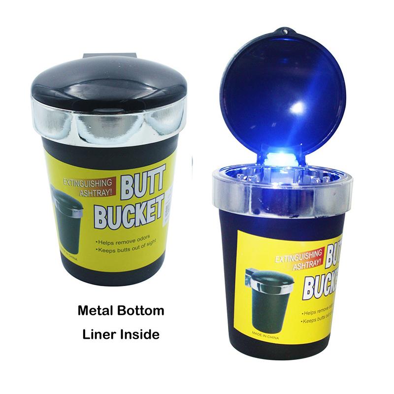 Мобилен пепелник за автомобил или офис с вградено LED осветление