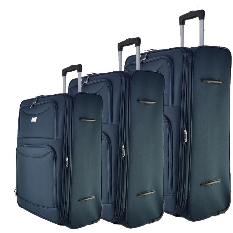 Висок клас разширяващи се текстилни куфари Perfect Line NAVY 1048, 3 бр.