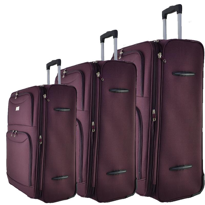 Висок клас разширяващи се текстилни куфари Perfect Line BORDO 1048 3 бр.