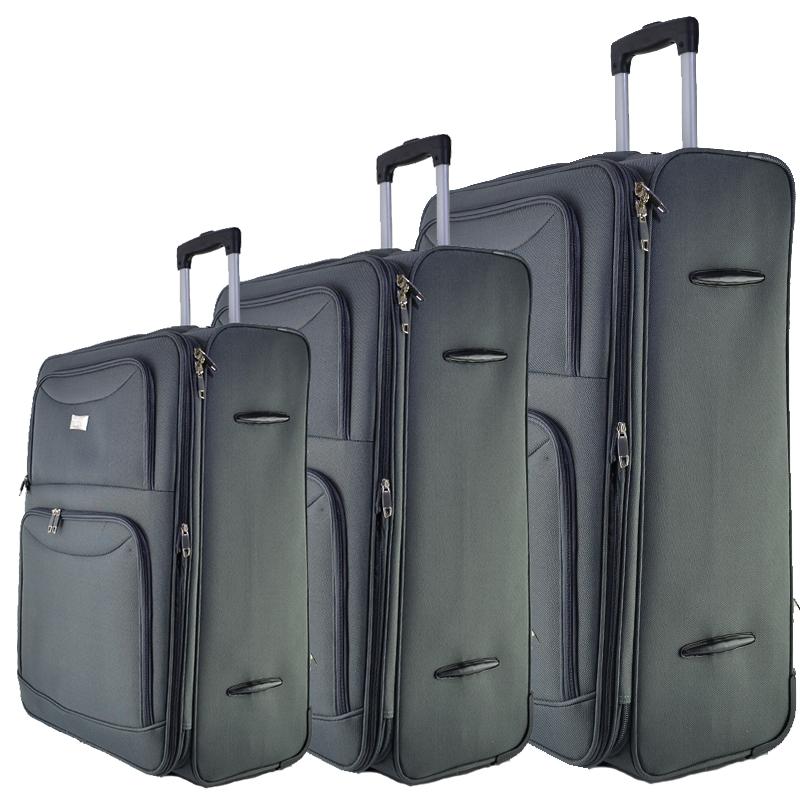 Висок клас разширяващи се текстилни куфари Perfect Line GREY 1048 - 3 броя