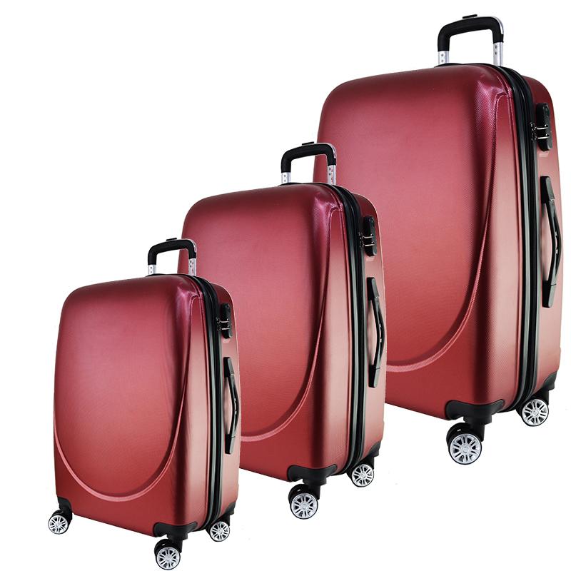 3 луксозни пътнически куфари 1217 RED от най-висок клас, с разширение