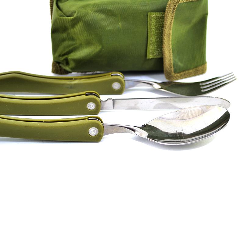 Туристически комплект за хранене 2612 от 3 части- сгъваеми вилица, лъжица и нож