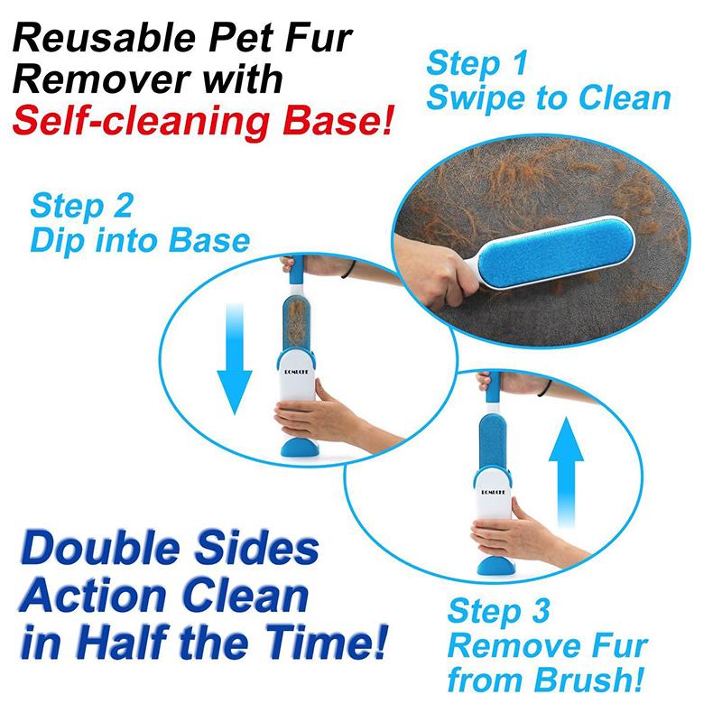 2 четки за почистване на косми от домашни любимци PET FUR REMOVER- голяма и травел четки