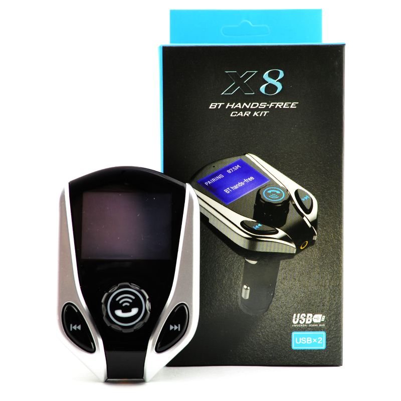 CAR KIT X8, Bluetooth Hands-free  за разговори, зарядно за телефон, аудио трансмитер