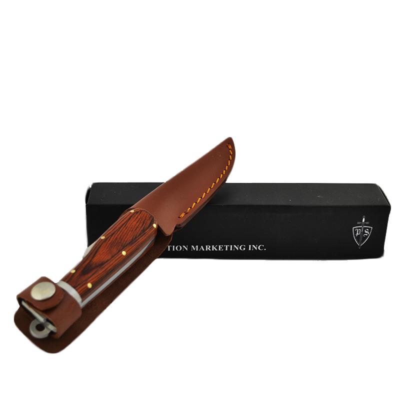 Тежък, полу сгъваем ловен нож с дебела кожена кания KCC10592N