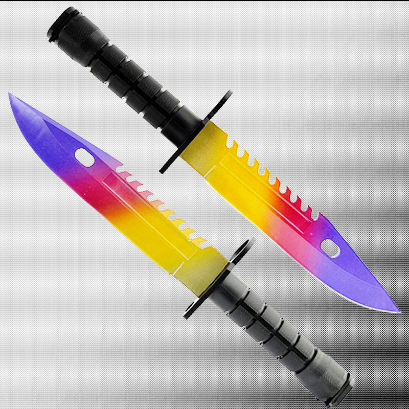 Геймърски нож COUNTER STRIKE CS M9 BAYONET ELITE MARBLE FADE M5 с ПОДАРЪК - дървена стойка