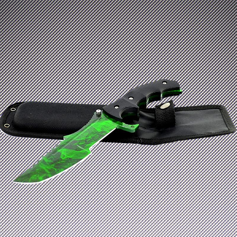 Геймърски нож CS HUNTSMAN ELITE  EMERALD HM10 и ПОДАРЪК дървена стойка