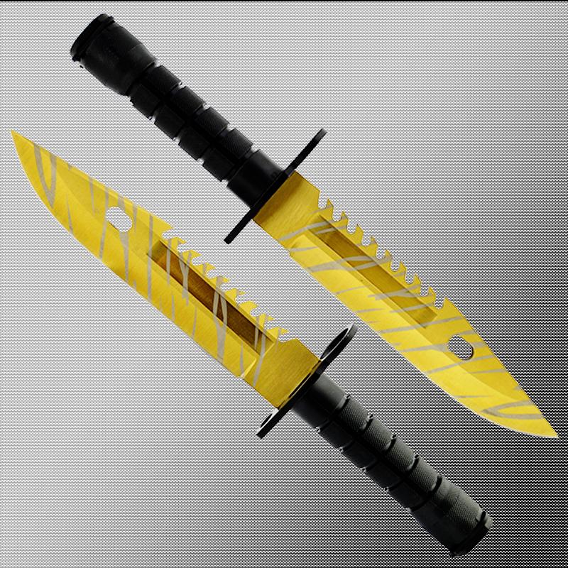 Геймърски нож COUNTER STRIKE CS M9 BAYONET TIGER TOOTH M15 с ПОДАРЪК - дървена стойка