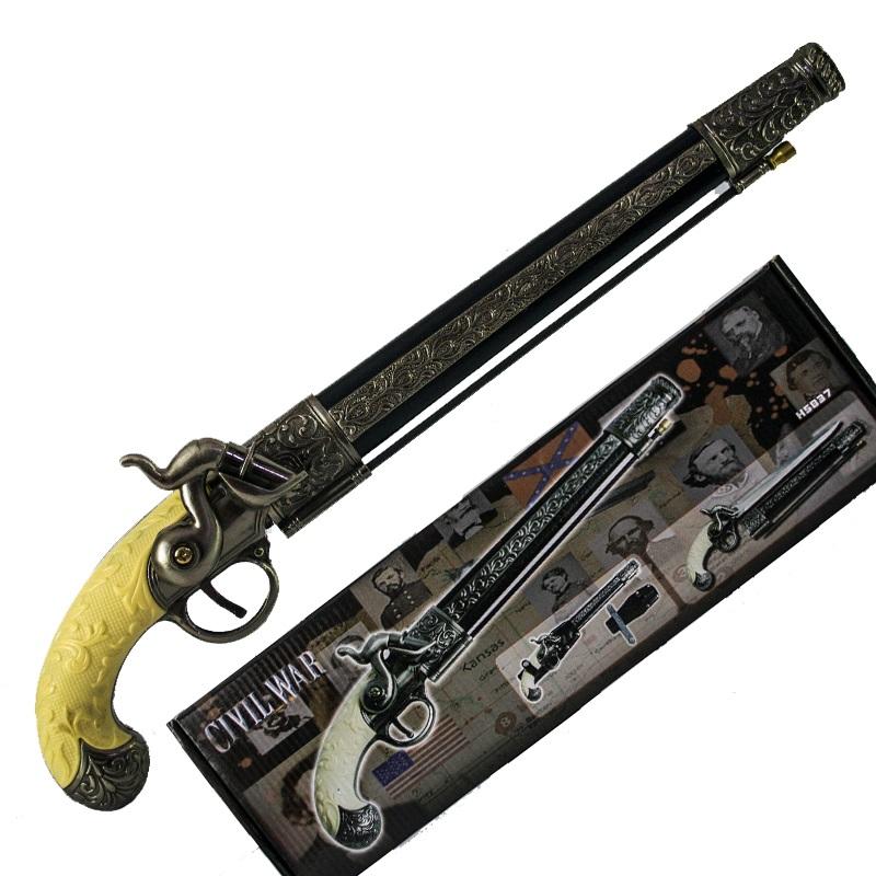 Красив сувенирен пистолет със скрита кама и подаръчна кутия