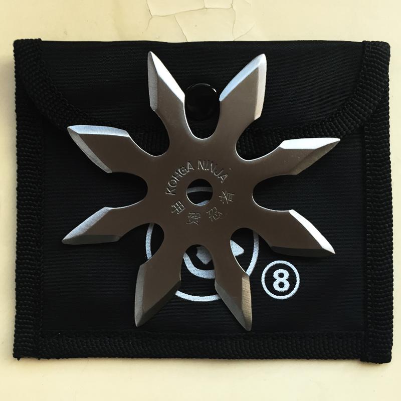 Истински стоманен шурикен KOHGA NINJA SHURIKEN с 8 лазерно заточени остриета и калъф