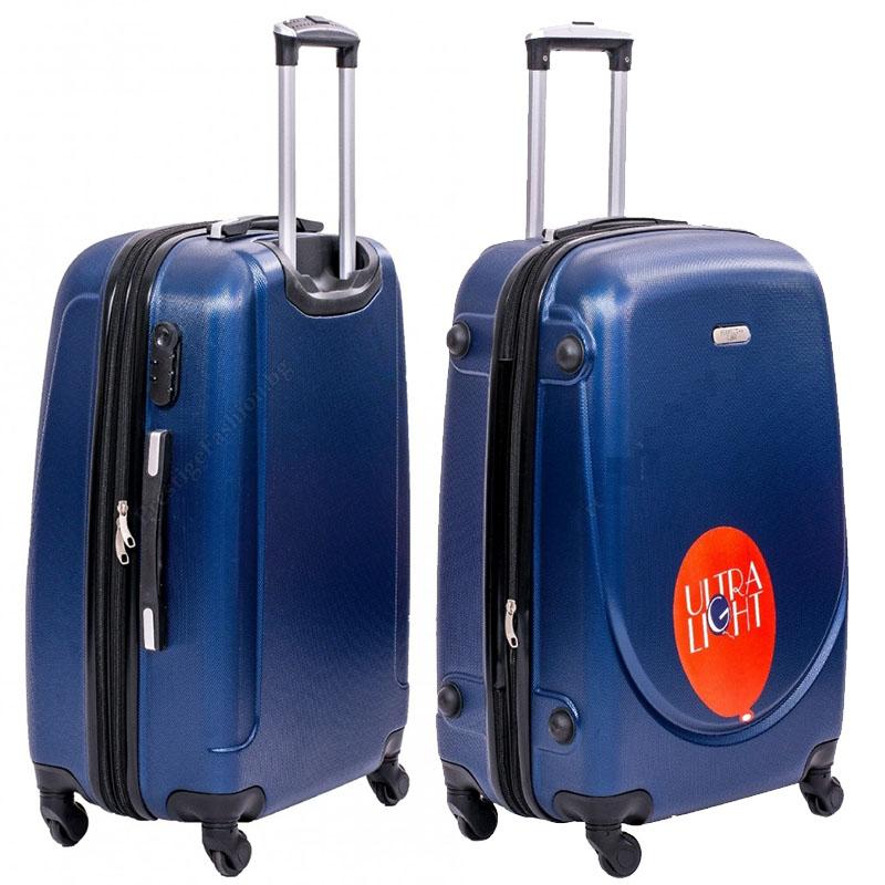 XXL размер луксозен пътнически PVC куфар - спинър 1217 от BLUE най-висок клас