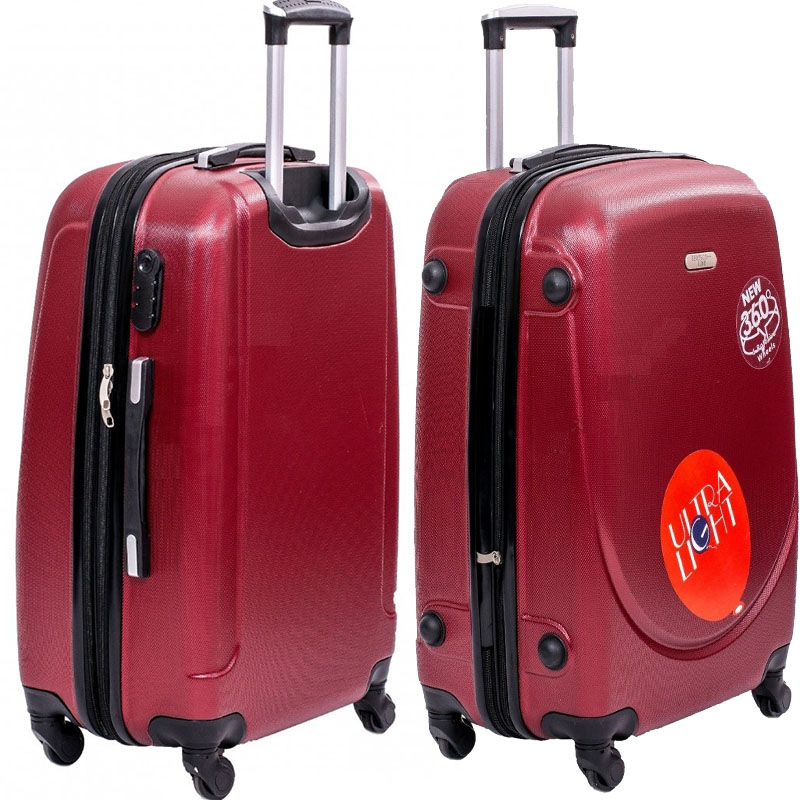 XXL размер луксозен пътнически PVC куфар - спинър 1217 от RED най-висок клас