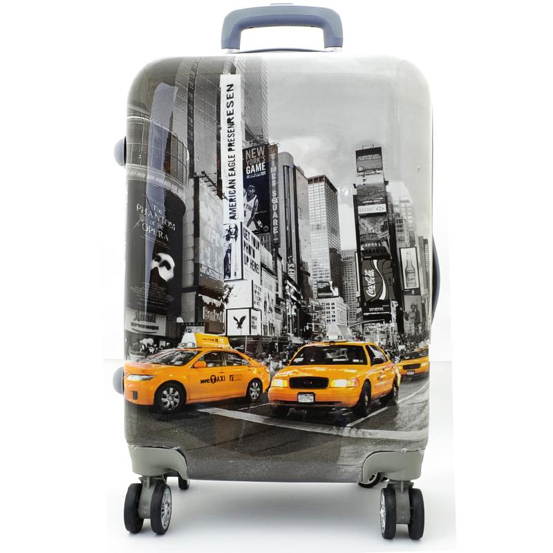 XXL размер луксозен пътнически PVC куфар - спинър  New York Taxi К-16-348-3 - ПОЛИКАРБОН