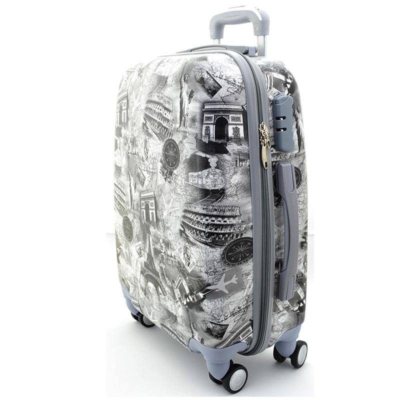 XXL размер луксозен пътнически PVC куфар - спинър Black&White WORLD - ПОЛИКАРБОН